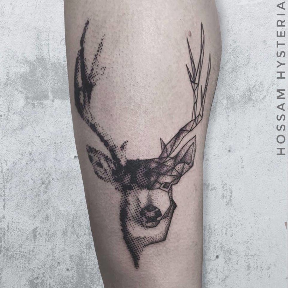 half geometric deer half dotmatrix