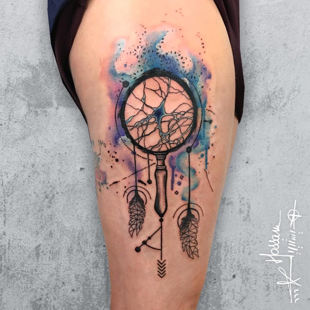 Neuron dream catcher tattoo