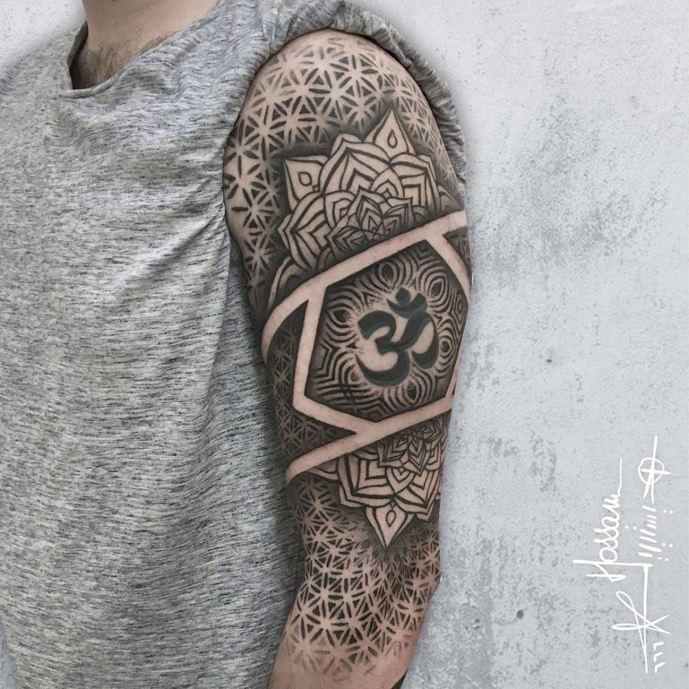 Geometric dotwork sleeve