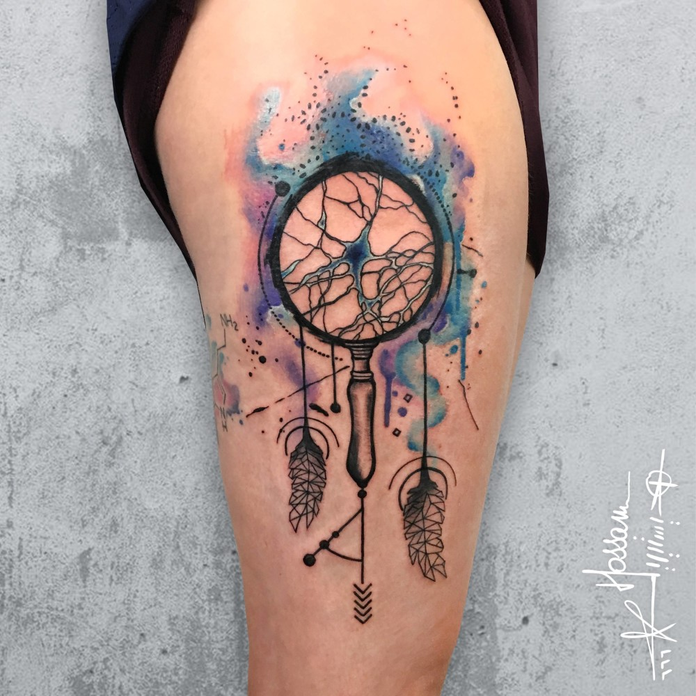 Neuron dream catcher tattoo