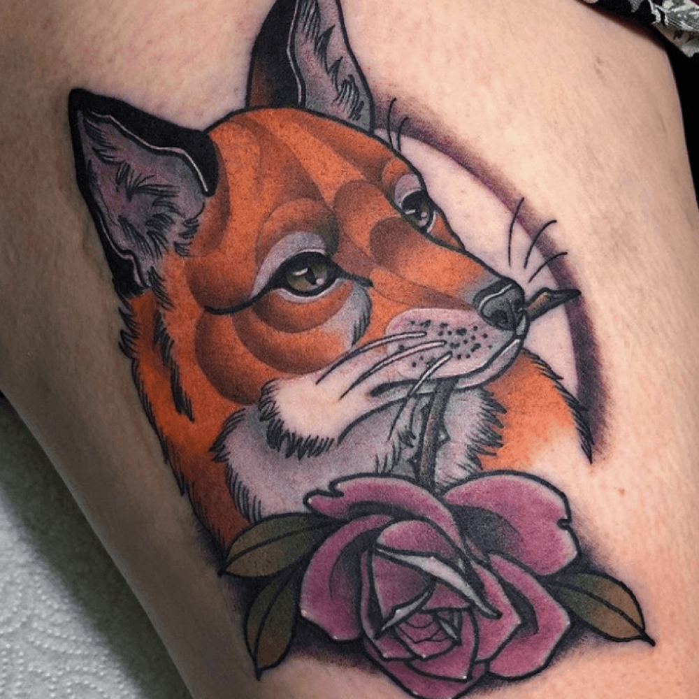 Fox with rose